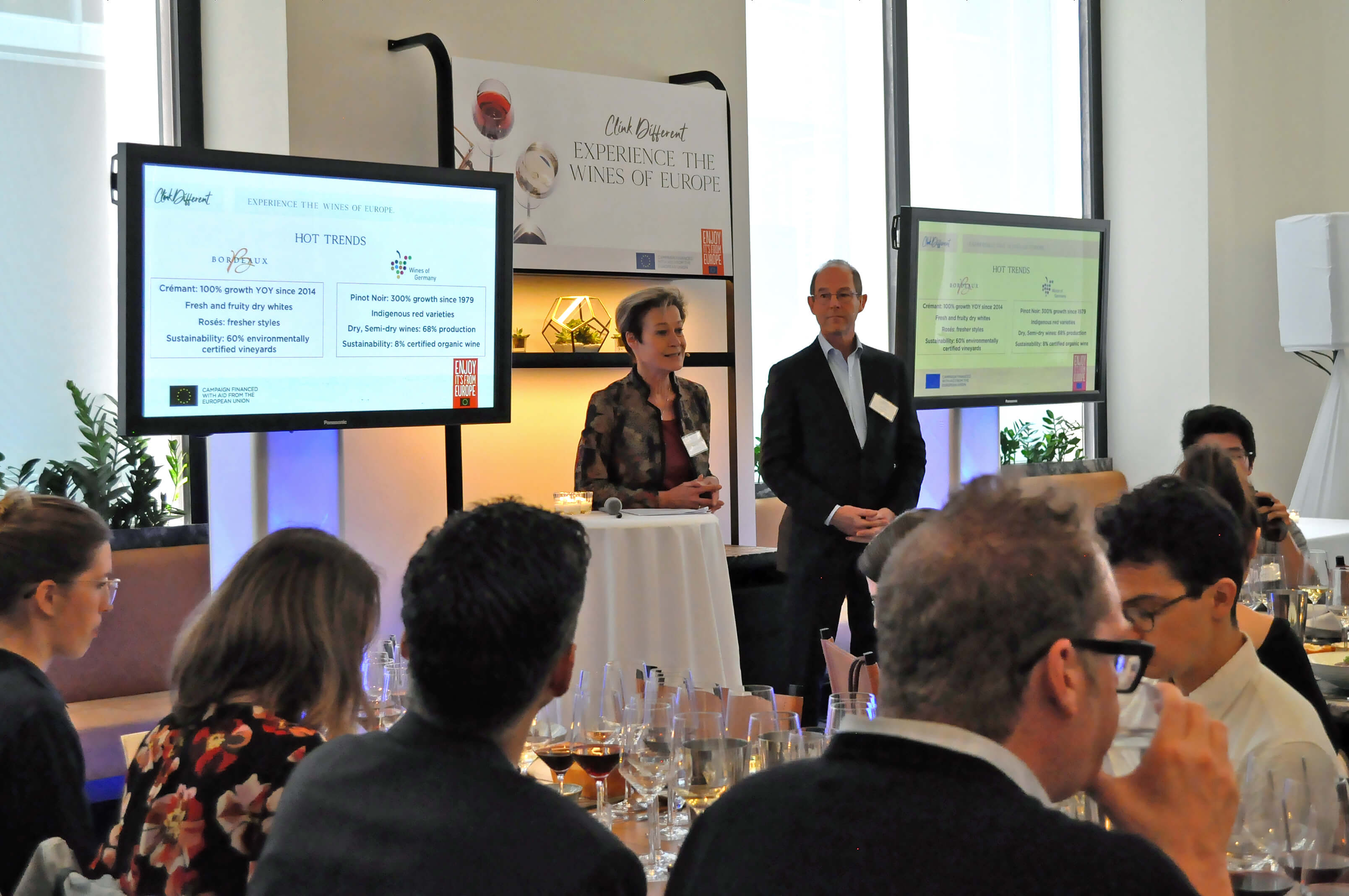 Monika Reule, Managing Director of the German Wine Institute, and Allan Sichel, President of the Bordeaux Wine Council announce joint marketing program